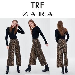 NWT TRF Zara leopard jeans mid rise culotte